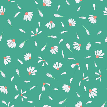 bedclothes: Seamless pattern with cute chamomile flowers