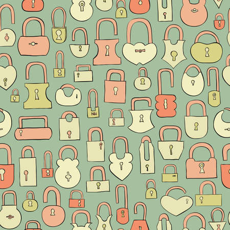 secret number: hand drawn coloful locks seamless pattern