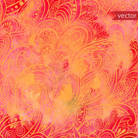 watercolor background with seamless paisley pattern