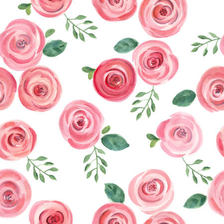 the season of romance: cute hand drawn watercolor roses seamless pattern. vector illustration