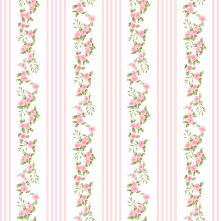 angielski kwiatowy wzór z paskami. wektor kwiatowy tapeta