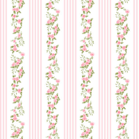 english floral pattern with stripes. vector floral vintage wallpaper