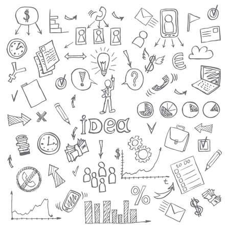 stick figure people: Business doodles. vector illustration