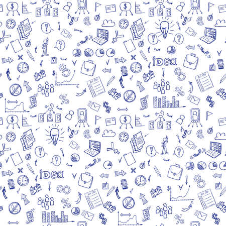 business diagram: Business doodles seamless pattern. vector illustration