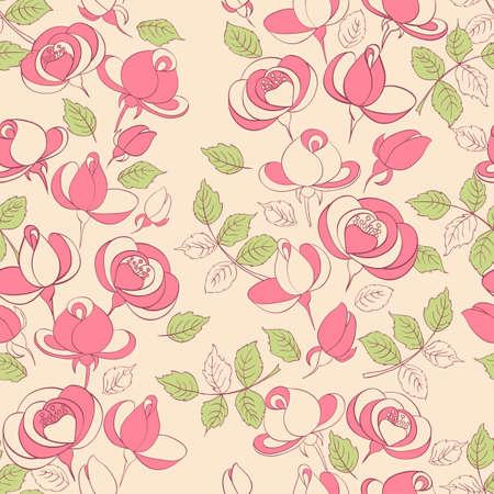 wedding backdrop: vintage roses seamless pattern. vector illustration