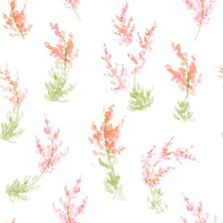 paint swatch: Hand painted watercolor flowers seamless pattern. Vector illustration