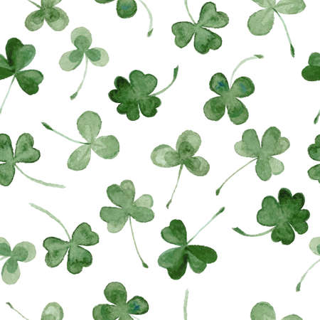 watercolor clover seamless vector pattern.  hand draw leaves for St Patricks day 向量圖像
