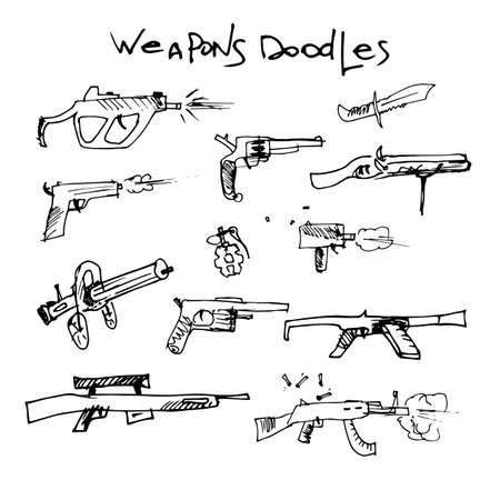 kalashnikov: set of hand drawn weapons. vector illustration