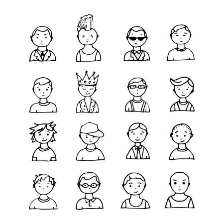 line drawing: set of hand drawn doodle face avatars Illustration