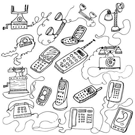 telephone booth: set of hand drawn doodle telephones