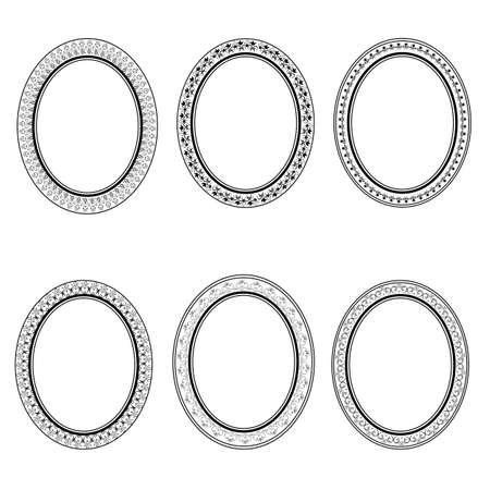 oval frame: set of vector retro oval frame