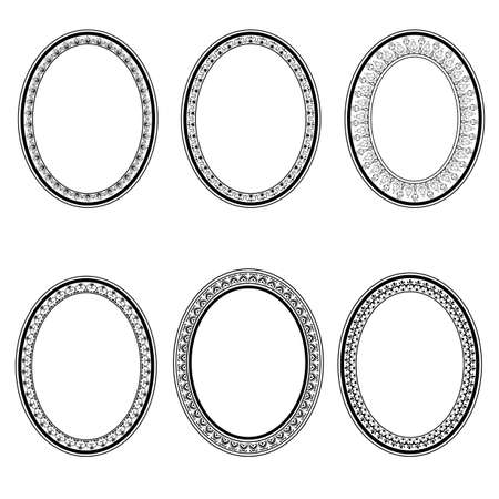 label frame: set of vector retro oval frame