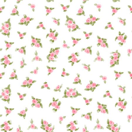 귀여운 수채화 꽃 원활한 섬유 패턴. 벡터 일러스트 레이 션 일러스트