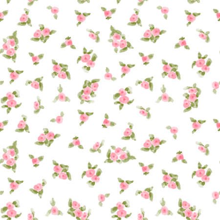 green floral: cute watercolor flowers seamless textile pattern. vector illustration