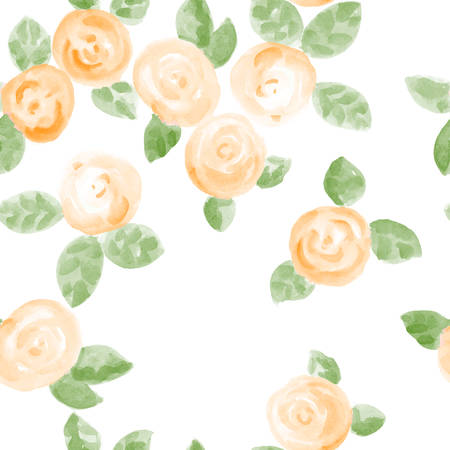 spring flower: cute hand drawn watercolor roses seamless pattern. vector illustration