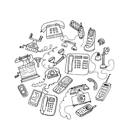 phone booth: set of hand drawn doodle telephones