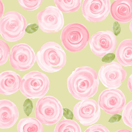 fresh flowers: cute hand drawn watercolor roses seamless pattern. vector illustration