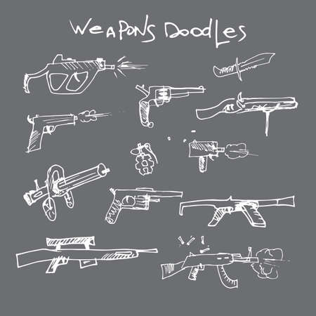 weapons: set of hand drawn weapons