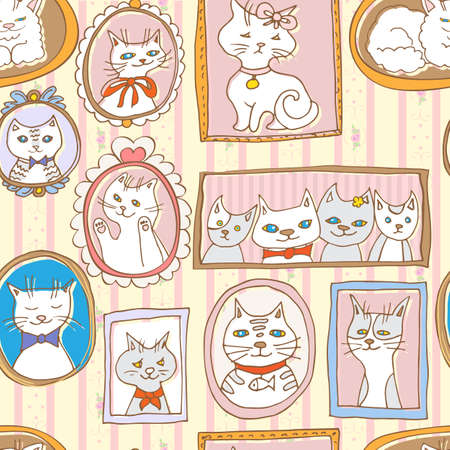 domestic animal: cute cats portraits seamless pattern Illustration