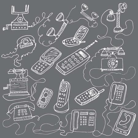 telephones: set of hand drawn doodle telephones