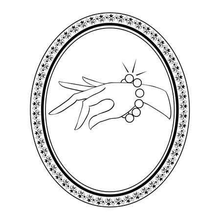 cuff links: jewelry vintage label with bracelet Illustration