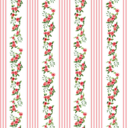 english rose: english floral pattern with stripes. vector floral vintage wallpaper