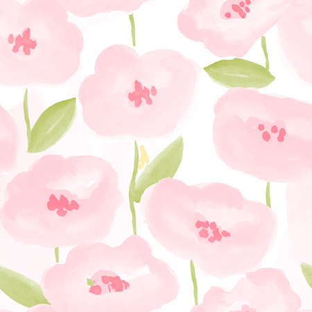 floral decoration: abstaract warecolor flowers seamless pattern. vector illustration