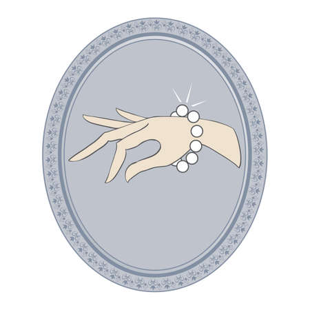 cuff bracelet: jewelry vintage label with bracelet Illustration