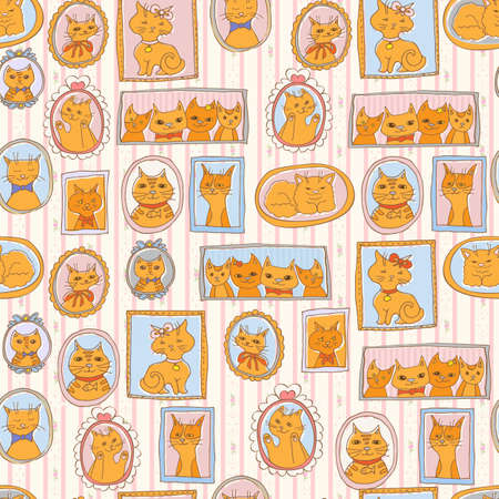 cute cats portraits seamless pattern. retro background Illustration
