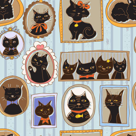 cute cats portraits seamless pattern. retro background Иллюстрация