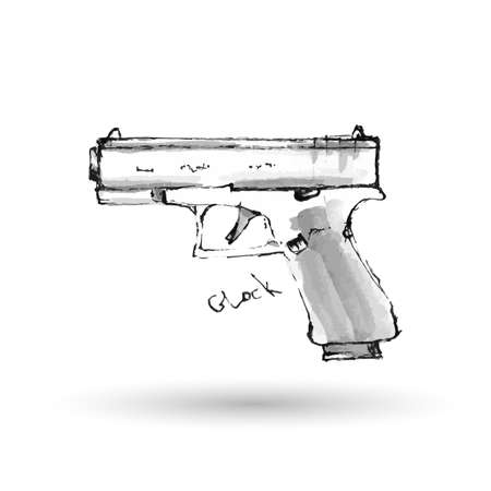 glock: Hand drawn pistol Glock isolated on white. Vector illustration