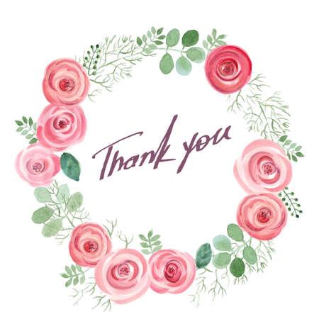 Aquarel blad en rozen rond frame. Vectorillustratie van hand getrokken natuurlijke krans voor dank u kaarten Stock Illustratie