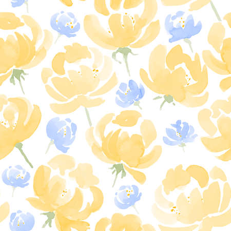 pattern flower: Watercolor Peonies seamless fabric pattern. Hand Drawn Vector Illustration Illustration