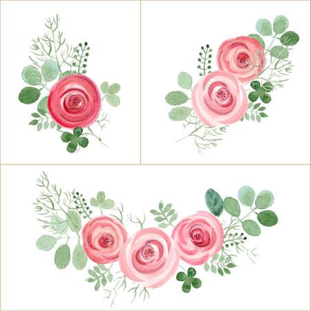 Hand getrokken leuke rozen en blad compositie voor uw ontwerp. Kan voor verjaardagskaart, huwelijksuitnodigingen of paginadecoratie worden gebruikt. Geïsoleerd op witte achtergrond