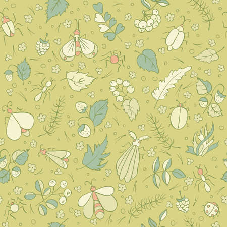 ant leaf: Colorful doodles Beetles Ants Butterflies Berries foliage and needles. Forest seamless pattern. Kids illustration Vectores