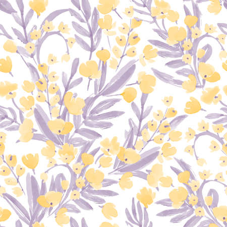 buttercup: Vintage Watercolor Wallpaper of hand drawn Flowers and Leaf. Seamless Pattern. Colorful Background for your design