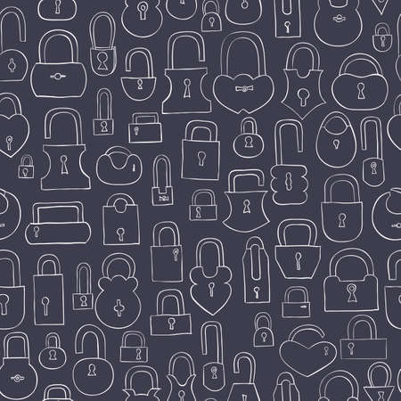 secret number: hand drawn locks seamless pattern