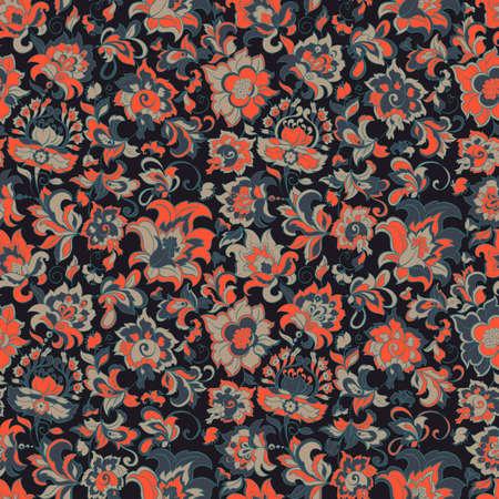 batik: ethnic flowers seamless pattern
