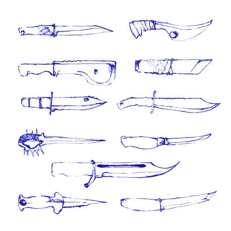 machete: Set of hand drawn fighting knifes isolated on white. Vector illustration