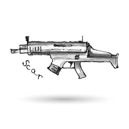 assault rifle: Hand drawn assault rifle Scar isolated on white. Vector illustration