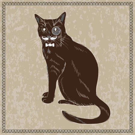 monocle: Cute Hand Drawn Gentleman Cat in Bow Tie Monocle. Vector illustration Illustration