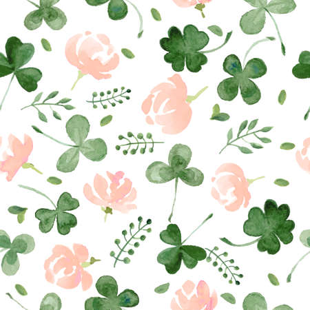 shamrock: Watercolor Clover and little flowers seamless vector pattern. Illustration