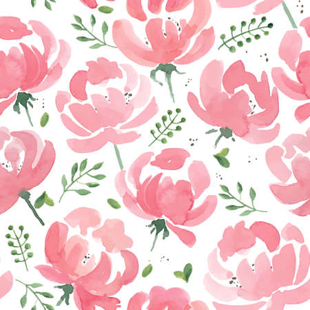 Watercolor Peonies seamless fabric pattern. Hand Drawn Vector Illustration Vettoriali