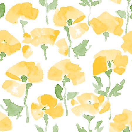 Watercolor Poppy seamless Pattern. Hand Drawn Vector Illustration