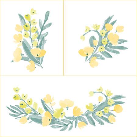 Hand gezeichnete Blumen und Blatt Zusammensetzung für Ihr Design. Kann für die Geburtstagskarte, Hochzeitseinladungen oder Seitendekoration verwendet werden. Isoliert auf weißem Hintergrund. Standard-Bild - 49502911