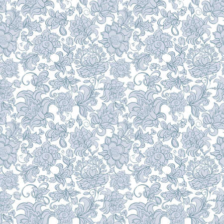ethnic flowers seamless vector pattern Çizim