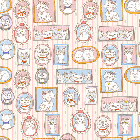 chubby cartoon: cute cats portraits seamless pattern. retro vector background