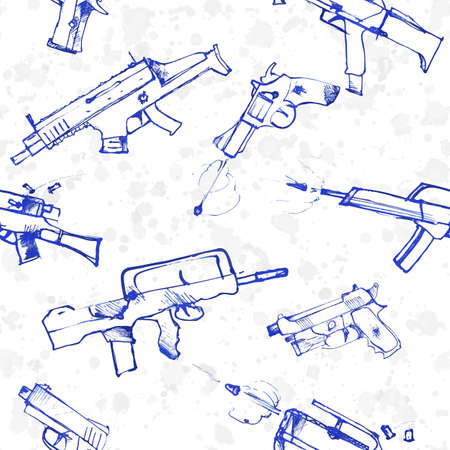 9mm ammo: Seamless pattern of hand drawn weapons. Shooting pistols and guns war background. Vector illustration.