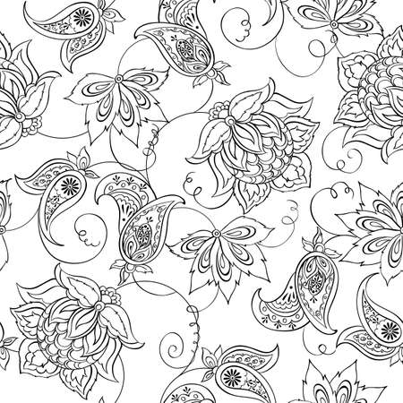 paisley seamless pattern: Floral Paisley Pattern. Seamless Asian Textile Background Illustration