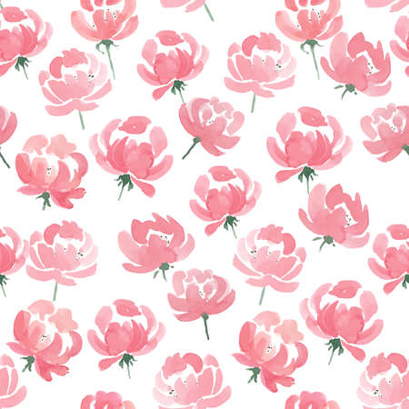 pink flower background: Watercolor Peonies seamless fabric pattern. Hand Drawn Vector Illustration Illustration